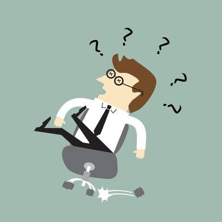 Geschäftsmann fällt von einem Bürostuhl
