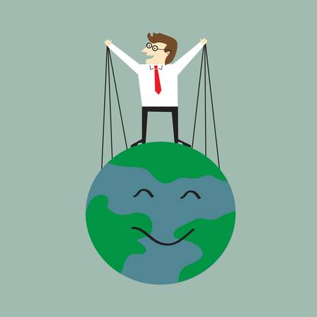 Businessman save the Earth Vector