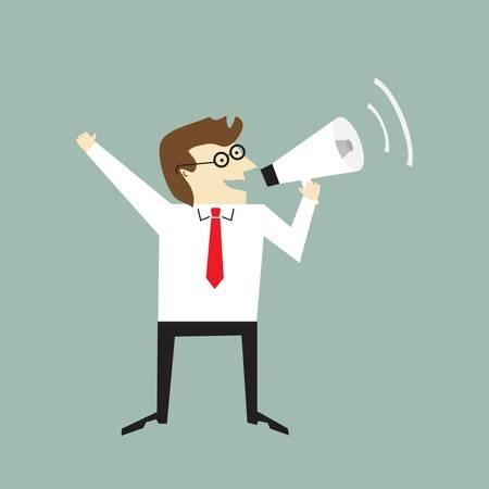 summoning: Businessman holding a megaphone