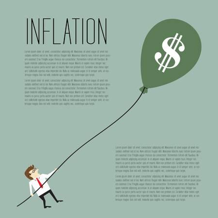 Inflation, Geschäftsmann zieht ein Dollarzeichen Ballon Illustration