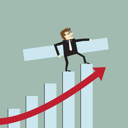 Businessman with a growth bar chart
