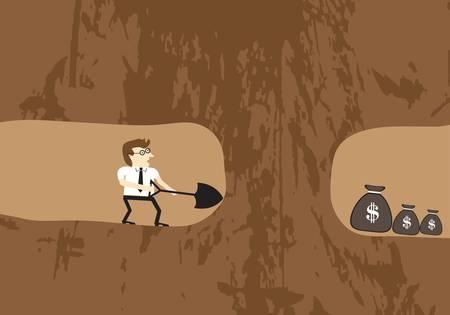Geschäftsleute gruben Erde, um Geld zu finden Illustration