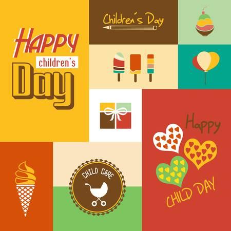 Glückliche Kinder s Tag-Karte mit Schrift, Typografie