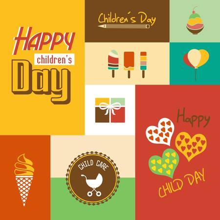 children s: Happy children s day card with font, typography
