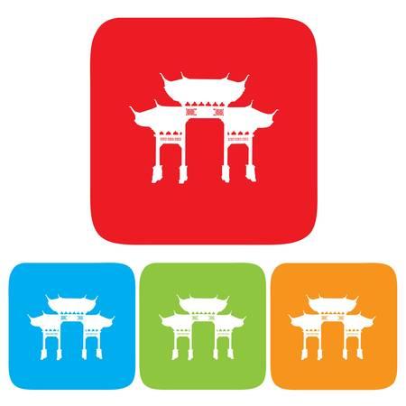 中国のアーチのアイコン  イラスト・ベクター素材