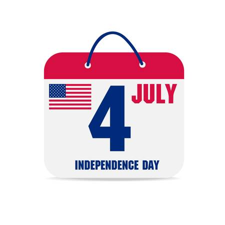 july 4 calendar, independence day american calendar design  Vector