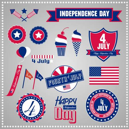 Set of design elements for Independence Day, July 4 Vector