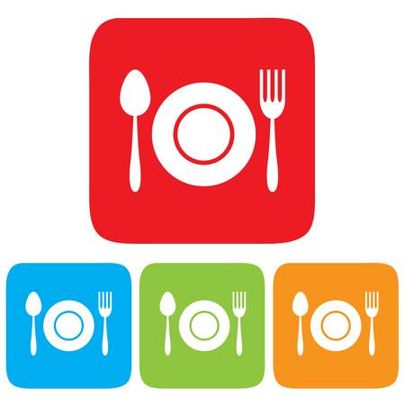 Dish, Fork and spoon icon, restaurant sign 矢量图像