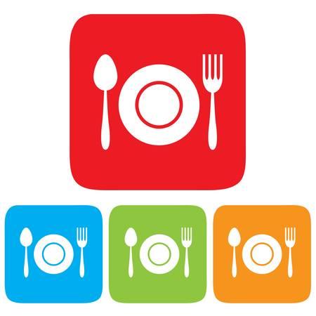 restaurant icon: Dish, Fork and spoon icon, restaurant sign Illustration