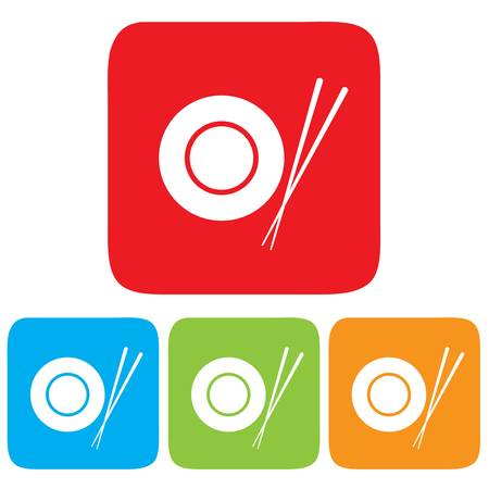 cantonese: Dish and Chopsticks icon, restaurant sign