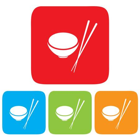 cantonese: Bowl and Chopsticks icon, restaurant sign Illustration