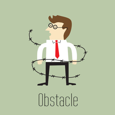 obstacle: Obstacle, Businessmen were wrapped with barbed wire
