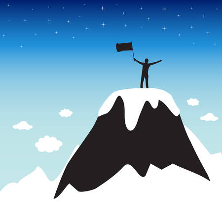 Silhouette of man on top the high mountain Vector