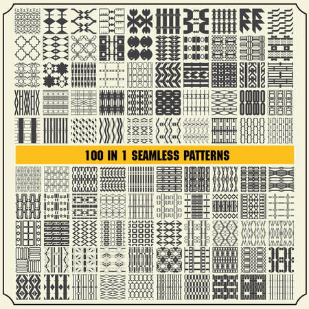 100 in 1 of Different seamless patterns Vector