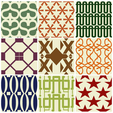 Retro different vector seamless patterns Vector