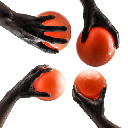 Ghost hand with orange balloons photo