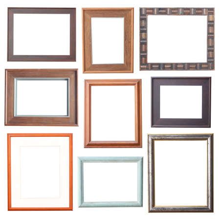 wood frame Collection on white background  photo