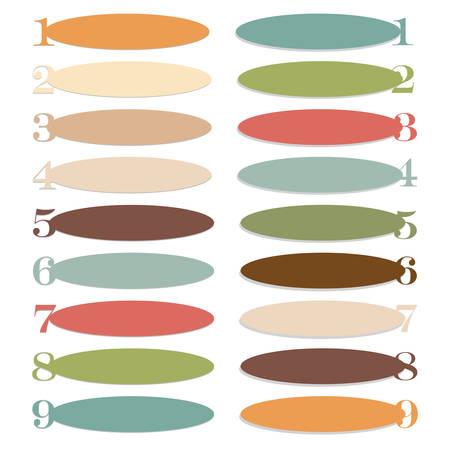 elipse: Banners elipse con n�meros de ilustraci�n vectorial