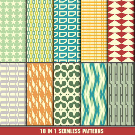 collection of retro seamless patterns for making wallpapers Vector