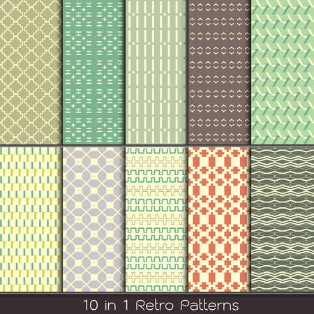 retro fashion patterns collection set for making seamless wallpapers Vector