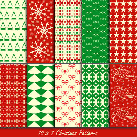 Christmas patterns collection set for making seamless wallpapers Stock Vector - 23457552