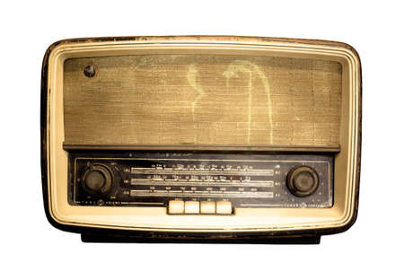 Old radio, Antique brown radio on a white background photo