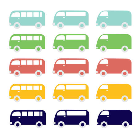 Van car set Vector
