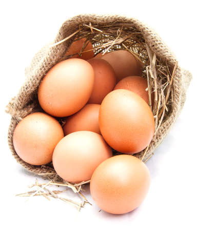 Eggs in canvas sack photo
