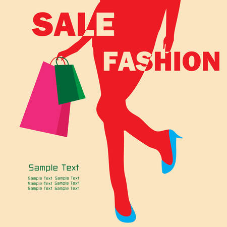 girl with bag: Fashion shopping girl