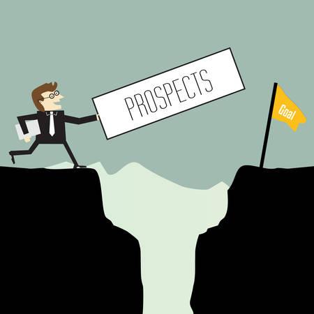 Geschäftsmann will Perspektiven Illustration