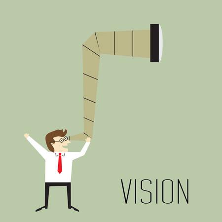 mirando: Visi�n, Ejecutivo ganas Perspectivas de futuro del negocio Vectores