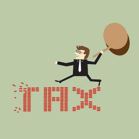 tax form: Businessman holding a hammer against taxes Illustration