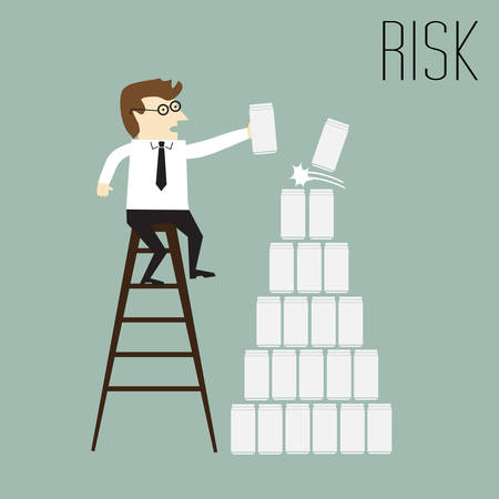 trying: Risk, Businessman trying to put the cans on top