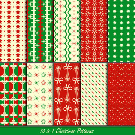 Christmas patterns collection set for making seamless wallpapers Vector