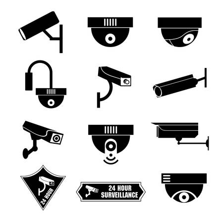 глядя на камеру: Видеонаблюдение, значок видеонаблюдения, векторные иллюстрации