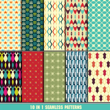 set of retro seamless pattern for making wallpaper Vector
