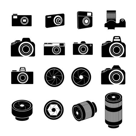 Camera Icons and Camera lens Icons Vector