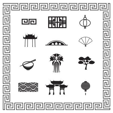 Chinese iconen Stock Illustratie
