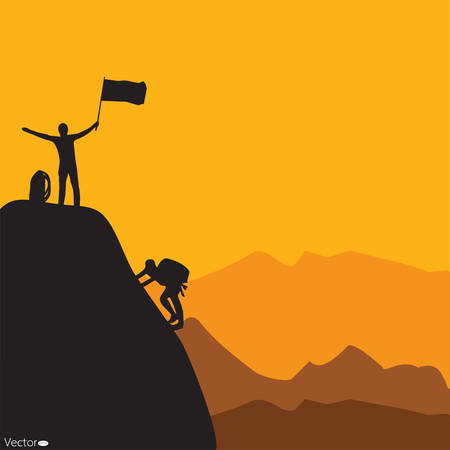 man hiking: Mountain climbing, vector illustration Illustration