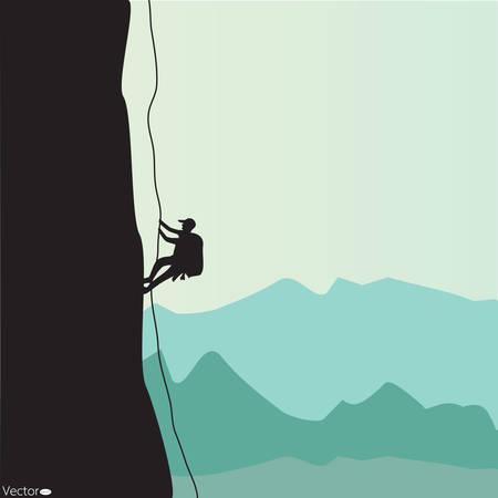 Bergbeklimmen, vectorillustratie Vector Illustratie