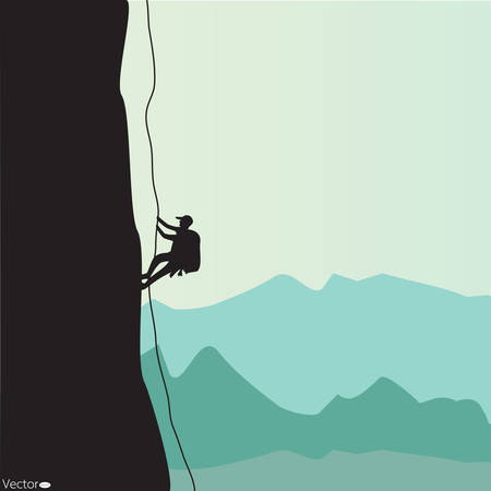 Mountain climbing, vector illustration Çizim