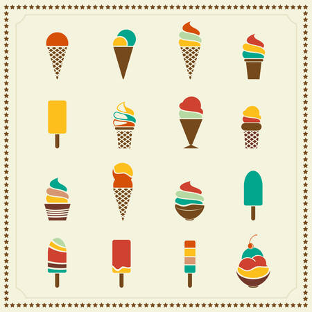 Vintage retro ice cream icons Vector