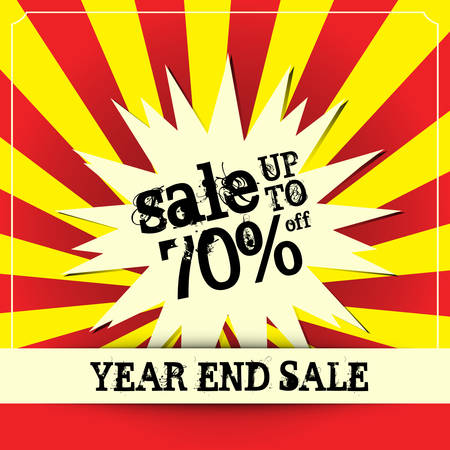 Year end sale poster, Vector illustration Vector