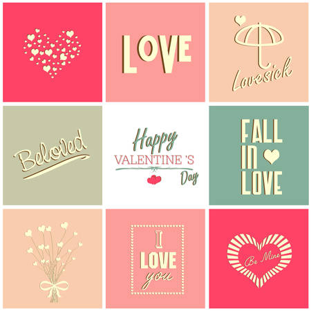 Valentines day card and typography elements, Vector illustration Vector