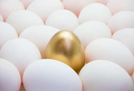 Golden eggs with duck eggs photo