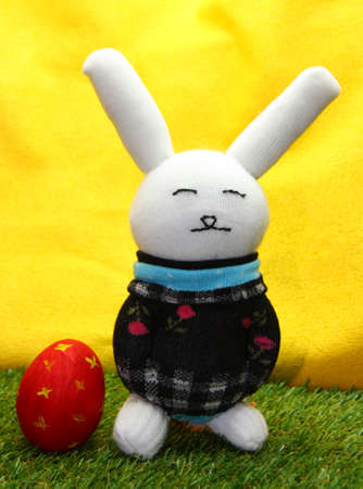Rabbit doll from sock handmade and easter egg photo
