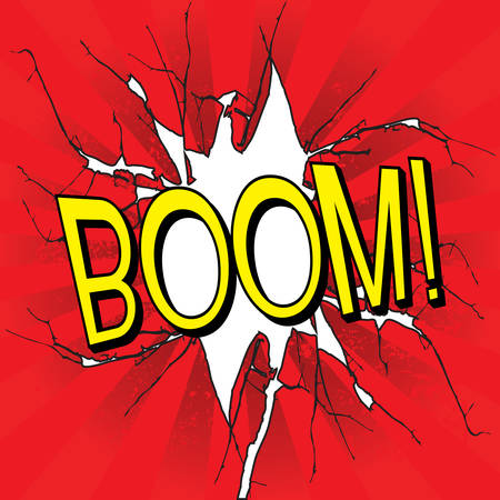 Boom comics icon on red grunge background Vector