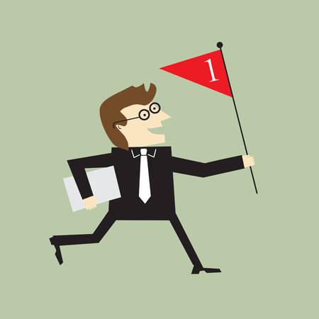 Businessman holding red flag