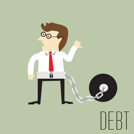 ligotage: Homme d'affaires avec la servitude pour dettes, illustration vectorielle Illustration