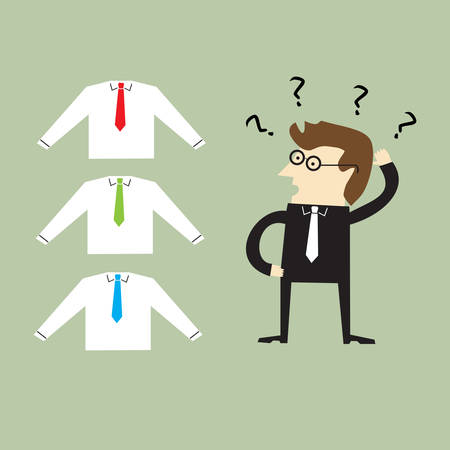 confused businessman: Concept of choices of a businessman